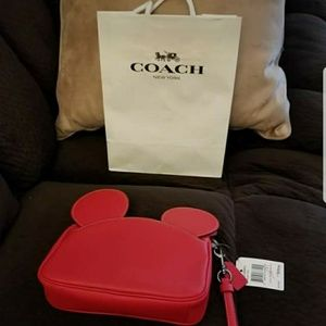 Red Coach Disney Mickey Ears Wristlet